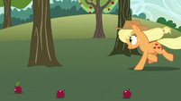Applejack running toward another apple tree S7E9