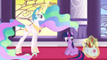 Celestia levitating the quills and papers back into Twilight's bags S3E01.png