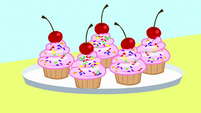 Cookbook drawing of delicious cupcakes S8E18