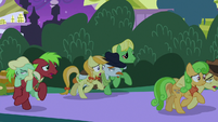 Earth ponies evacuating food area S9E17