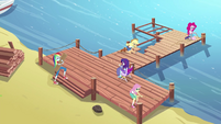 Equestria Girls repairing the dock EG4