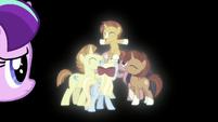 Filly Starlight looks at ponies surrounding Sunburst S5E26