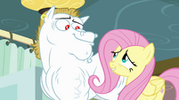 Fluttershy smiling at Bulk Biceps S4E10