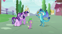 Princess Ember asks Spike to back up her claim S7E15