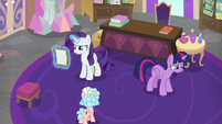Rarity reading Friendship University flyer S8E16