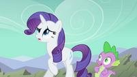 Spike and Rarity backing away from Rover S01E19