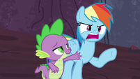 Spike stops Rainbow Dash from saying anything S7E25