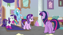 Starlight, Rarity, and Dash looking worried S8E17