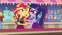 Sunset Shimmer about to hurl the ring EGROF