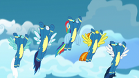 The Wonderbolts fly high into the sky S7E7