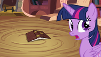 Twilight Sparkle about to pick up book S4E09
