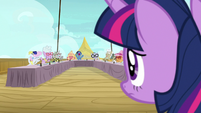 Twilight Sparkle watches the cruise ponies chant S7E22