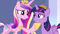 Cadance with hoof under Twilight's chin S4E25