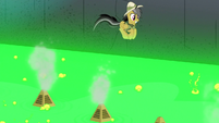 Daring Do bouncing on spurts of steam S7E18