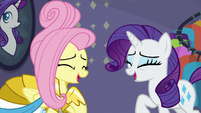 Fluttershy and Rarity laughing together S8E4