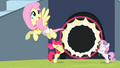 Fluttershy flying through the hoop S4E24.png