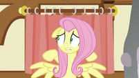 Fluttershy nervously looking to her right S5E21