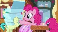 Pinkie giving Sandbar a lot of cupcakes S8E2