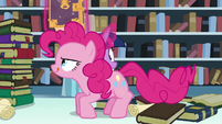 Pinkie on the table about to leap towards Flurry Heart S6E2