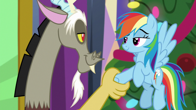 File:Rainbow Dash and Discord truce MLPBGE.png