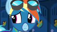 Rainbow Dash nervously looking behind her S6E7