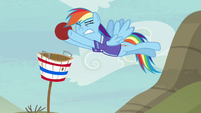 Rainbow catches Pinkie's goal shot S6E18