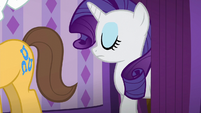 Rarity moving past a curtain S6E10