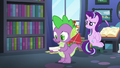 Spike reading Starlight Glimmer's lesson cards S6E21.png