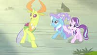 Starlight, Trixie, and Thorax watch Pharynx transform S7E17