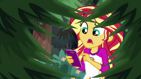 Sunset Shimmer sending a text to Twilight EG4