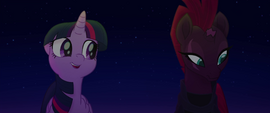 Tempest looks away from Twilight in embarrassment MLPTM