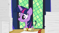 Twilight Sparkle smiling at Spike S7E22