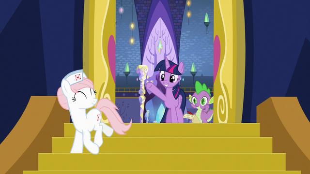 File:Twilight and Spike wave goodbye to Nurse Redheart S7E3.png