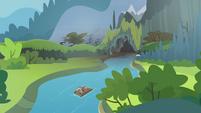 Apple family raft nearing cave S4E09