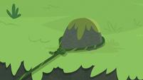 Applejack's vine lasso wraps around a rock S8E9