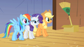 Applejack Rainbow and Rarity looking from backstage S1E18.png