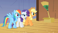 Applejack Rainbow and Rarity looking from backstage S1E18