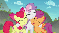 Cutie Mark Crusaders cheering together S8E6