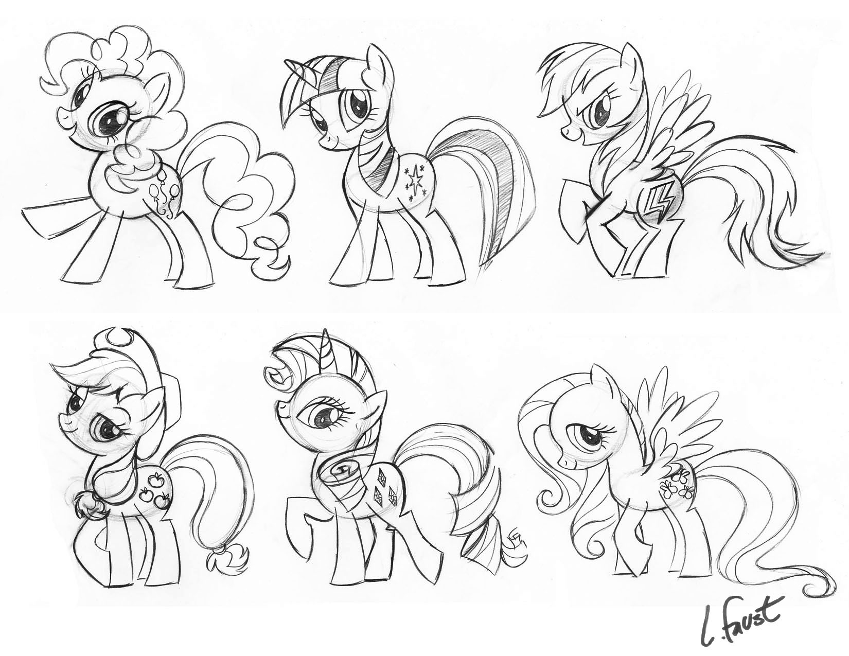 Image - Lauren Faust preliminary sketches of Main 6.jpg ...
