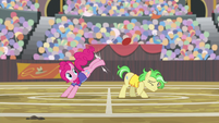 Pinkie Pie kicks buckball over stallion's head S9E6