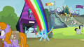 Rainbow Dash flies to crystal chalice stall S4E22.png