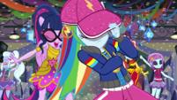 Rainbow Dash hides her eyes under her cap EGS1