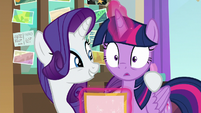 Rarity puts her hoof around Twilight S8E16