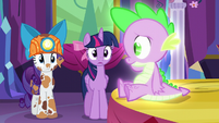 Spike looks at Rarity S6E5