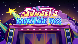 Sunset's Backstage Pass title card EGSBP