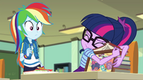 Twilight Sparkle hugging her school books EGDS22