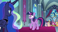 Twilight hearing Celestia's harsh words S9E2