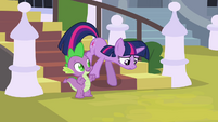 Twilight walks down the stairs S3E01