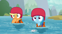 AJ and Rainbow watch the students' rescue S8E9