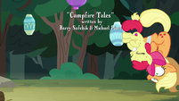 Apple Bloom crashing into Applejack S7E16